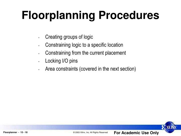 Floorplanning Procedures