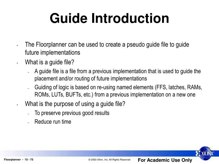 Guide Introduction