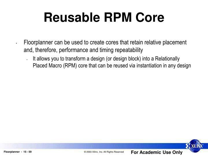 Reusable RPM Core