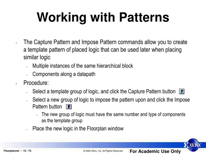 Working with Patterns