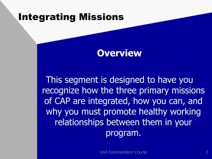 Integrating missions1
