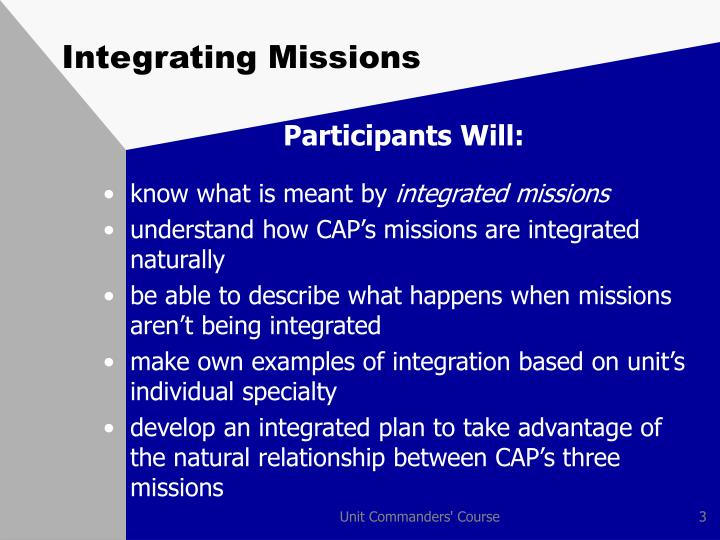 Integrating missions2