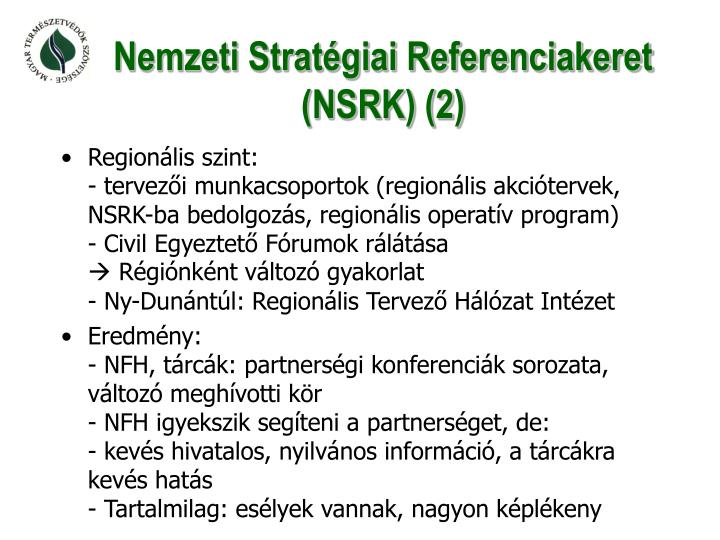 Nemzeti Stratégiai Referenciakeret (NSRK) (2)