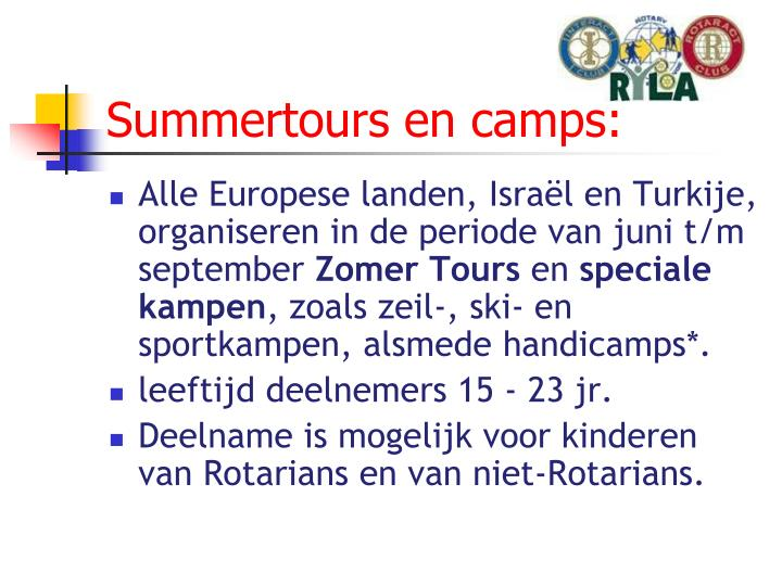 Summertours en camps: