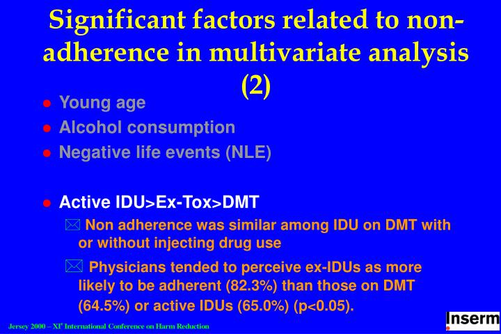 Significant factors related to non-adherence in multivariate analysis (2)