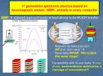 1 st generation spintronic devices based on ferromagnetic metals gmr already in every computer