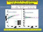 numerical results for she conductivities in 2d electrons and in 2d holes