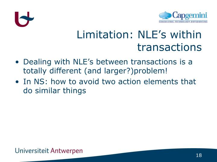 Limitation: NLE's within transactions
