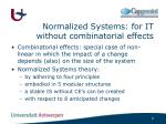 normalized systems for it without combinatorial effects