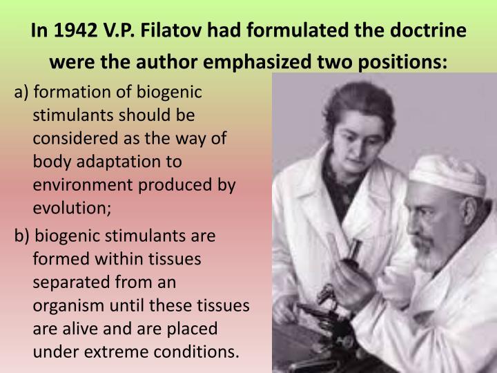In 1942 V.P. Filatov had formulated the doctrine