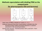 methods repercolation with dividing prm on the unequal parts by pharmacopoeia usa and germany