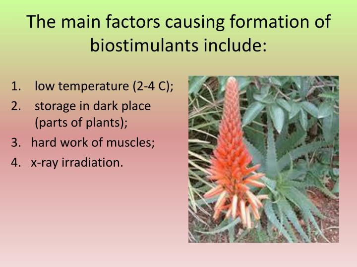 The main factors causing formation of biostimula