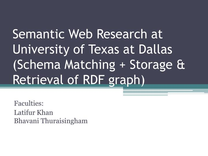Semantic Web Research at University of Texas at Dallas