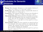 postulates for semantic distances