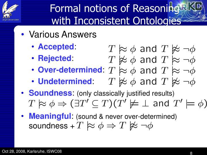 Formal notions of Reasoning