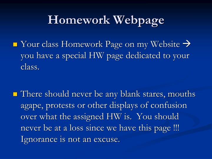 Homework Webpage