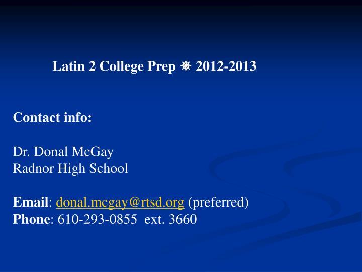 Latin 2 College Prep
