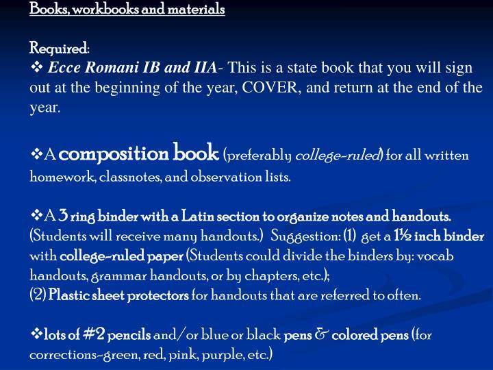 Books, workbooks and materials