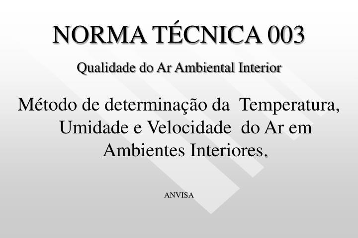 NORMA TÉCNICA 003