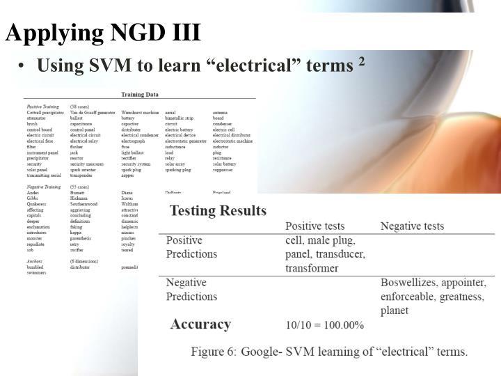 Applying NGD III