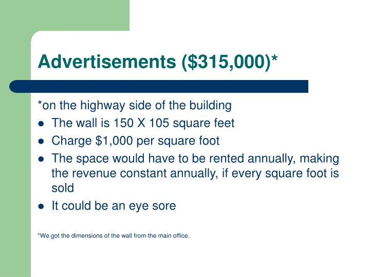 Advertisements ($315,000)*