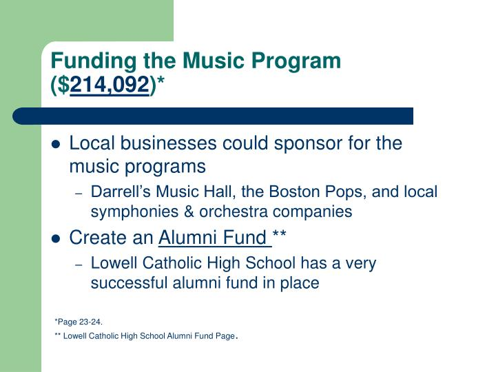 Funding the Music Program ($