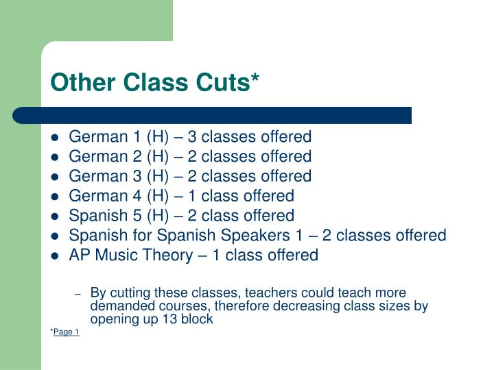 Other Class Cuts*