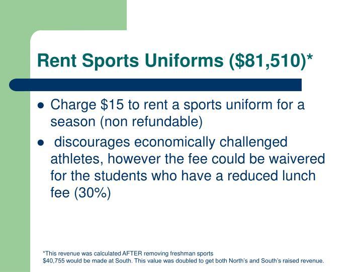 Rent Sports Uniforms ($81,510)*