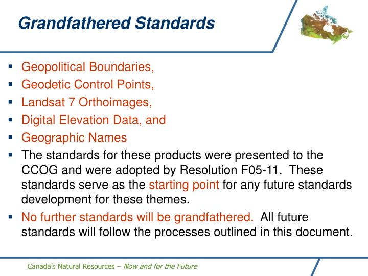 Grandfathered Standards