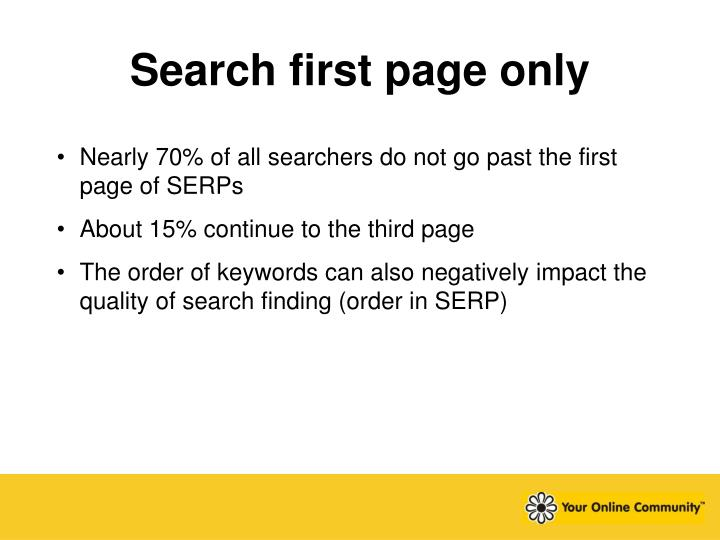 Search first page only