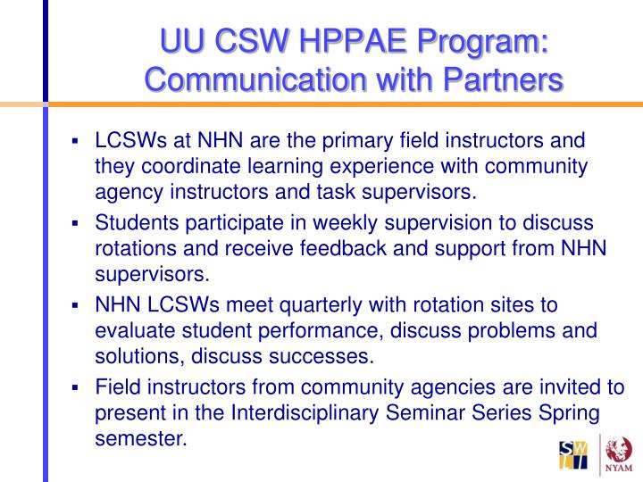 Uu csw hppae program communication with partners