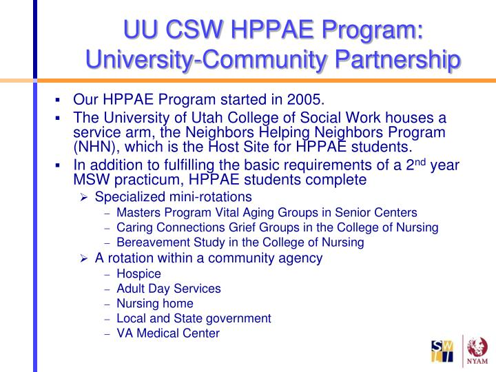 Uu csw hppae program university community partnership