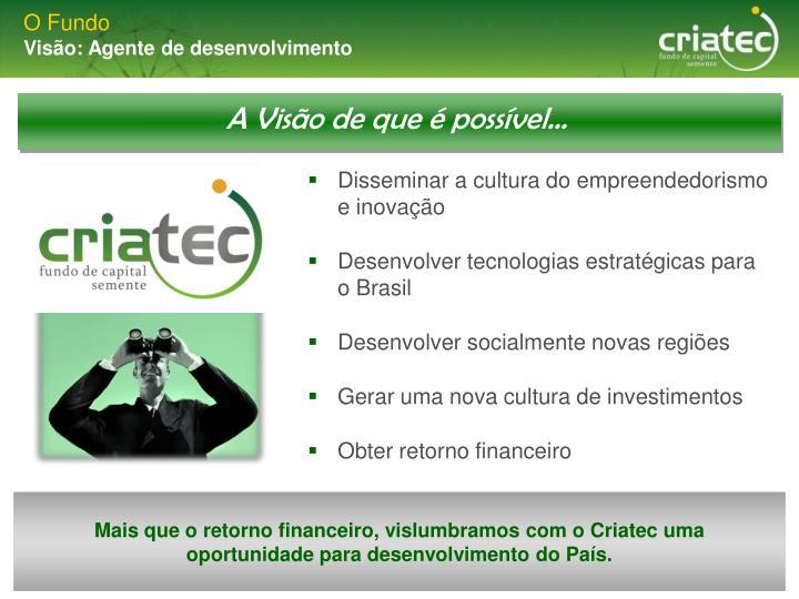 Mais que o retorno financeiro, vislumbramos com o Criatec uma oportunidade para desenvolvimento do País.