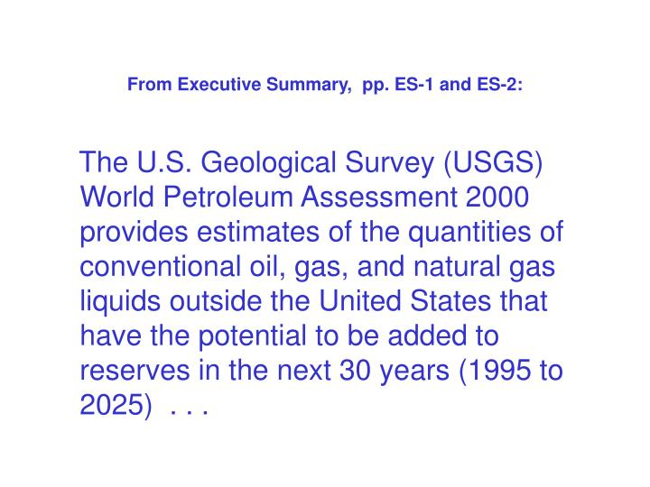 From Executive Summary,  pp. ES-1 and ES-2: