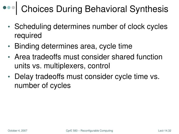 Choices During Behavioral Synthesis