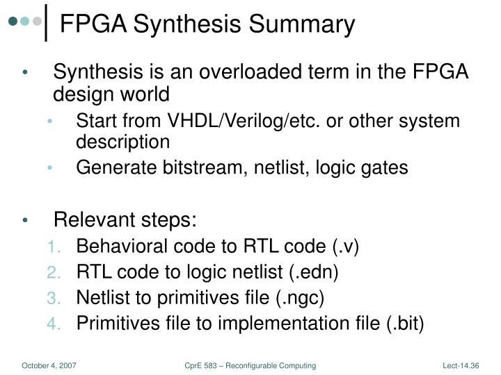 FPGA Synthesis Summary