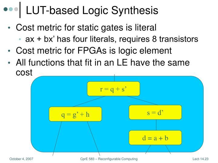 LUT-based Logic Synthesis