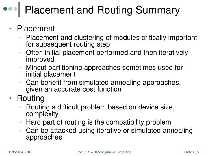 Placement and Routing Summary