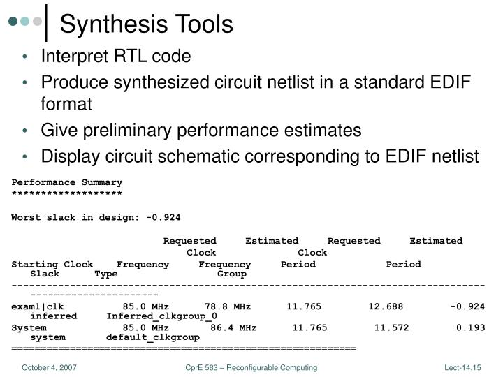 Synthesis Tools