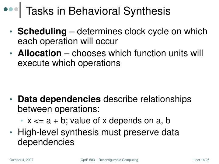 Tasks in Behavioral Synthesis