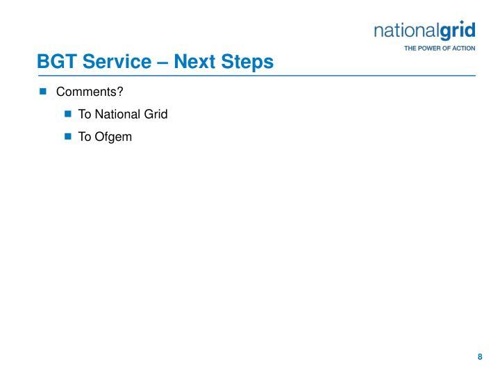 BGT Service – Next Steps