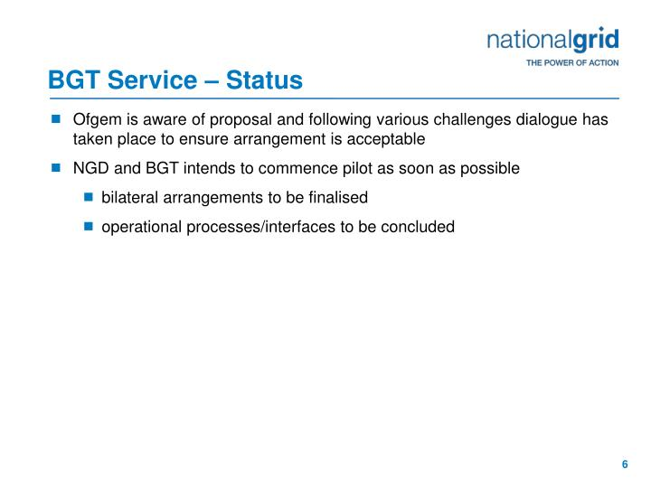BGT Service – Status