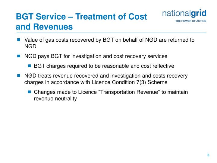 BGT Service – Treatment of Cost and Revenues