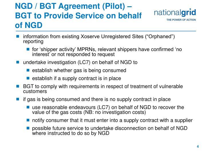 NGD / BGT Agreement (Pilot) – BGT to Provide Service on behalf of NGD