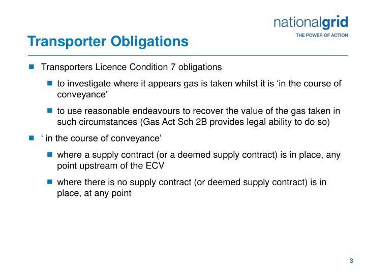 Transporter Obligations