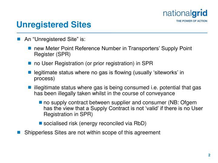Unregistered Sites