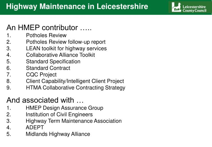 Highway maintenance in leicestershire