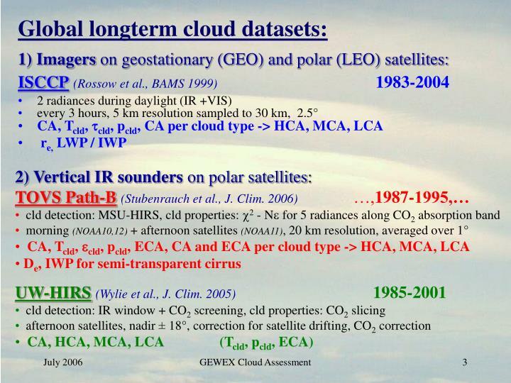 Global longterm cloud datasets: