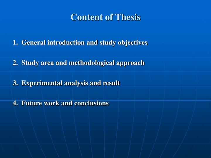 Content of Thesis