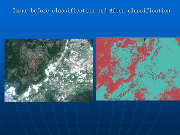 Image before classification and After classification